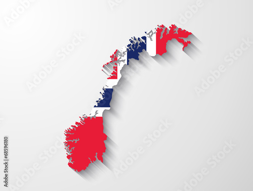 Norway map with shadow effect presentation Poster