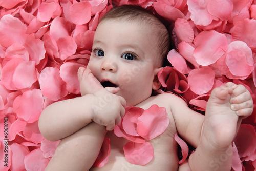 Zdjęcie XXL Mała dziewczynka na różanych płatkach