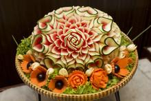 Closeup The Art Of Watermelon Carving Fruit.