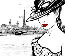 Young Woman Near The Seine Riv...