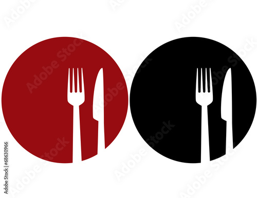 Stampa su Tela plate with fork and knife