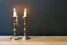 Retro Candelabra With Burning ...