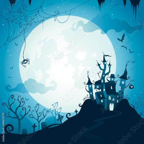 zamek-halloween-na-tle-ogromnego-ksiezyca