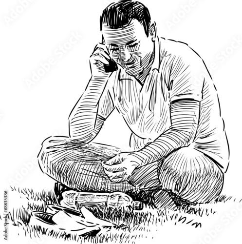 Foto op Plexiglas Zebra man talking on the phone