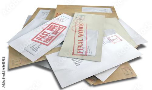 Fotografia, Obraz  Debt Envelope Scattered Stack