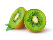 canvas print picture - Isolated kiwi. One kiwi fruit cut in halves isolated on white background with clipping path