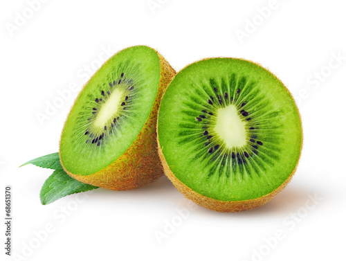 Isolated kiwi. One kiwi fruit cut in halves isolated on white background with clipping path - 68651370