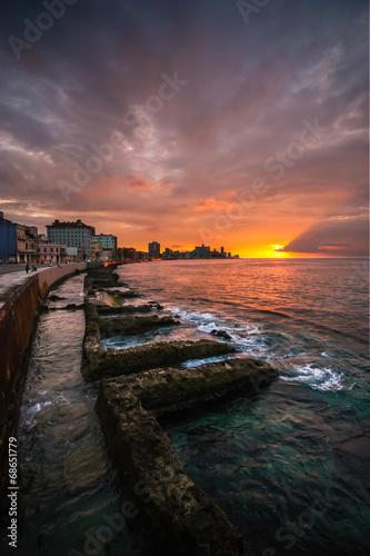 fototapeta na ścianę Hawana Waterfront Sunset