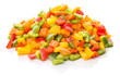 canvas print picture - Colorful mix chopped capsicums over white background