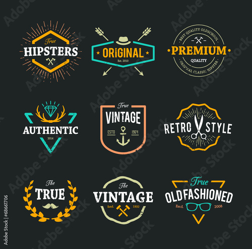 Fotografía  Vector Hipster Emblems