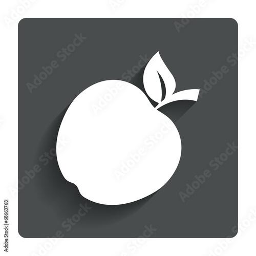 Fototapeta Apple sign icon. Fruit with leaf symbol. obraz na płótnie