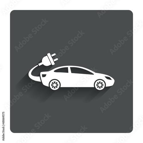 Fototapeta Electric car sign icon. Sedan saloon symbol. obraz na płótnie