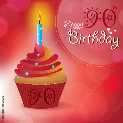 Happy 90th Birthday Message Bokeh Vector Cupcake Candle