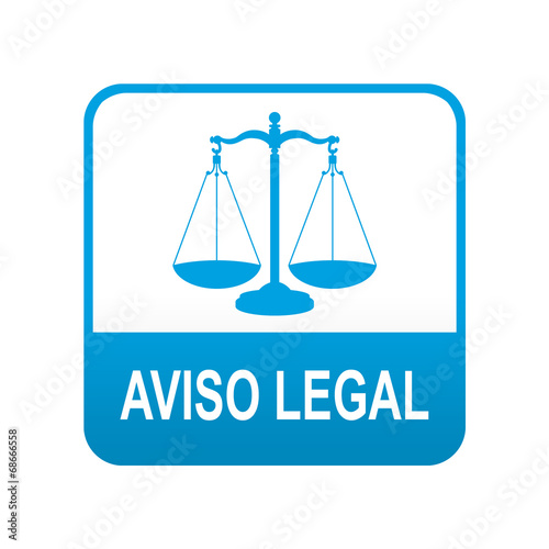 Photo Etiqueta tipo app azul AVISO LEGAL