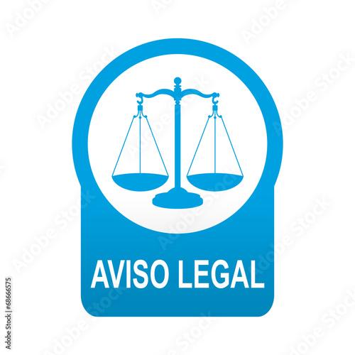 Etiqueta tipo app azul redonda AVISO LEGAL Wallpaper Mural