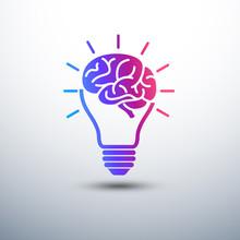Creative Brain Idea Concept With Light Bulb And Plug Icon ,vecto
