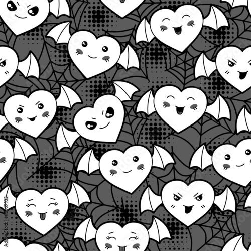Seamless halloween kawaii cartoon pattern with cute hearts.