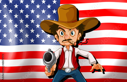 Poster Ouest sauvage A cowboy in front of the USA flag