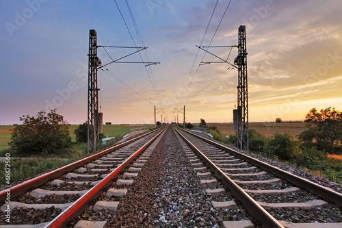 Poster Voies ferrées Railway at sunset
