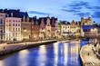 canvas print picture - Korenlei embankment in Ghent, Belgium