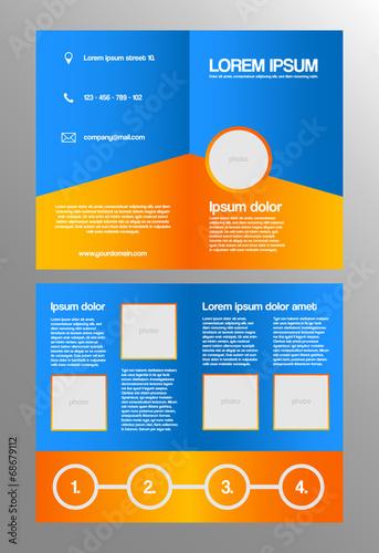 Valokuva  Bifold business brochure template - orange and blue