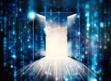 Composite Image Of Doors Opening To Reveal Beautiful Sky