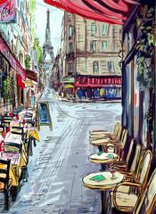 Fototapeta Paryż Street in paris - illustration