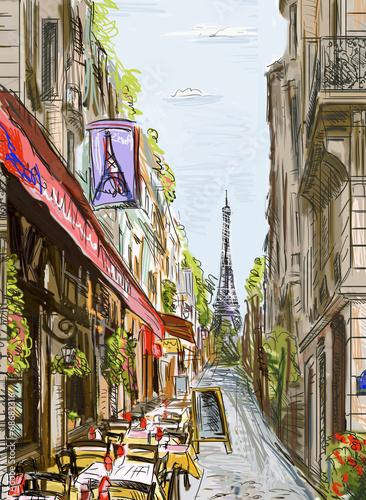 ulica-w-paryzu-z-francuska-kawiarenka-i-widokiem-w-tle-na-wieze-eiffla-ilustracja
