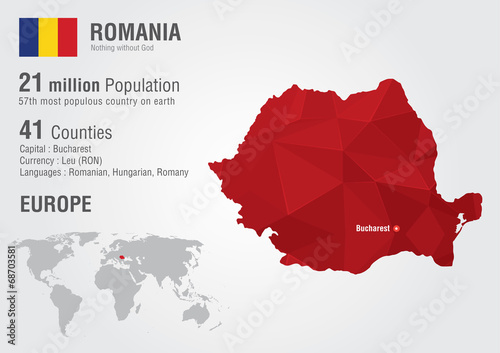 Photo  Romania world map with a pixel diamond texture.