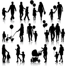 Black Set Of Silhouettes Of Parents And Children On White Backgr