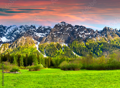 Tuinposter Lime groen Beautiful spring landscape in the Swiss Alps, Bregaglia.