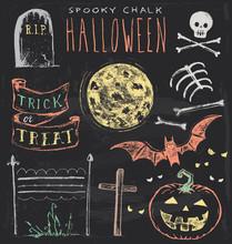 Vintage Chalkboard Halloween Hand Drawn Vector Set