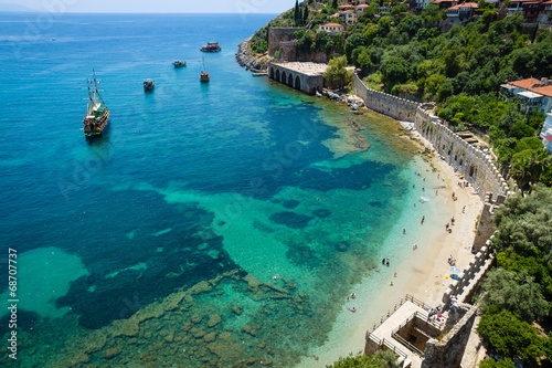 Printed kitchen splashbacks Turkey Shipyard and the ruins of a medieval fortress (Alanya Castle)