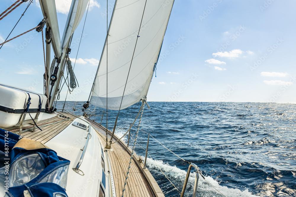 Fototapeta Yacht sail in the Atlantic ocean at sunny day cruise