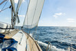 canvas print picture - Yacht sail in the Atlantic ocean at sunny day cruise