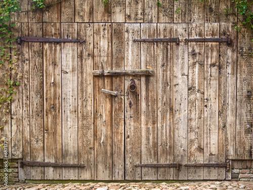 Canvas Old weathered barn door