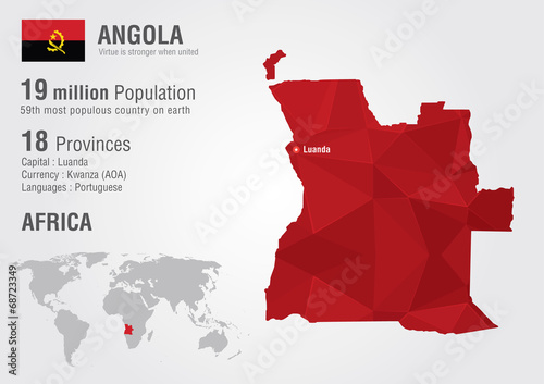 Photo Angola world map with a pixel diamond texture.