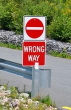 Wrong Way Signboard