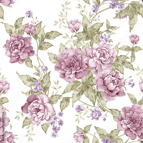 Fotoposter Vintage Bloemen flowers seamless pattern background - For easy making seamless p