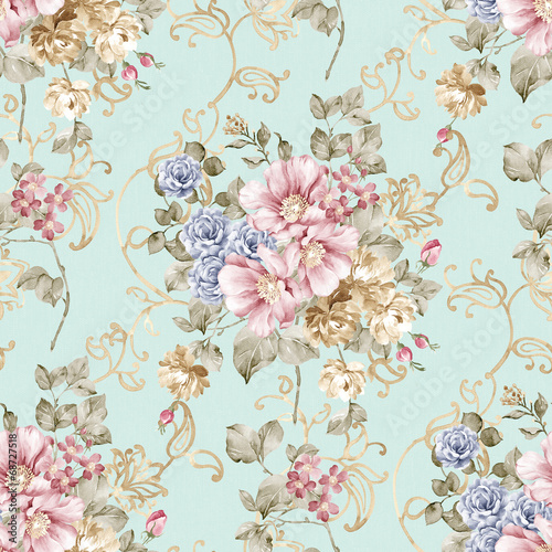Spoed Foto op Canvas Vintage Bloemen flowers seamless pattern background - For easy making seamless p