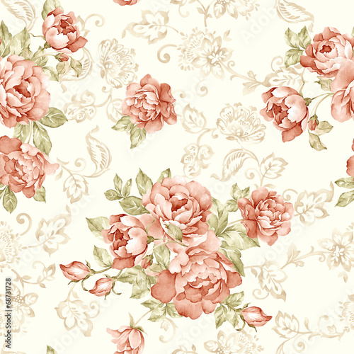 Stickers pour portes Fleurs Vintage flowers seamless pattern background - For easy making seamless p