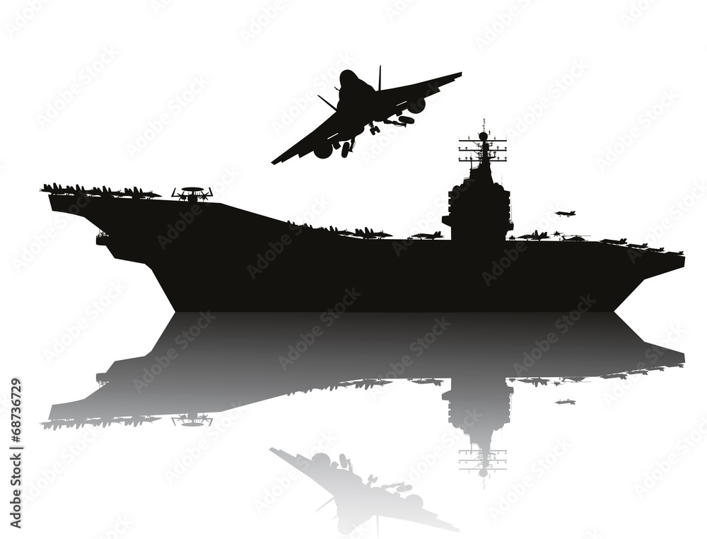 Photo  Aircraft carrier and flying aircraft detailed silhouettes