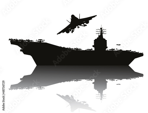 фотография  Aircraft carrier and flying aircraft detailed silhouettes