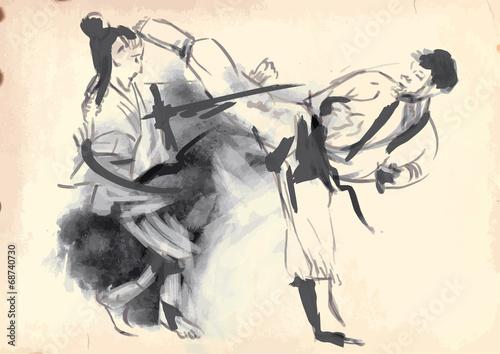 karate-recznie-rysowane-kaligraficzne-vintage
