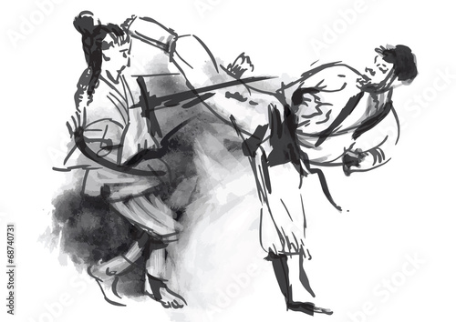 Obrazy Sztuki Walki  karate-hand-drawn-calligraphic-vector