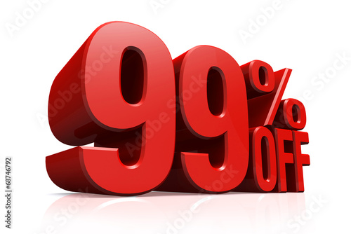 Photographie  3D render red text 99 percent off.