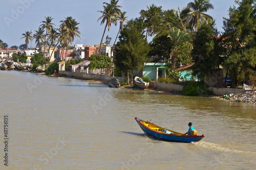 Staande foto Afrika Boat in Senegal River.Saint Louis, Senegal, Africa
