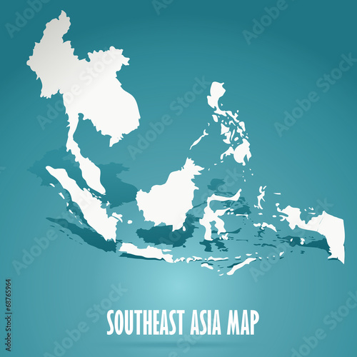 Foto  abstract white Southeast Asia map on green background