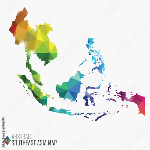 Cuadros en Lienzo abstract colorful Southeast Asia map