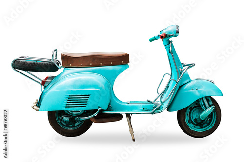 Garden Poster Scooter old vintage motorcycle isolated with clipping path